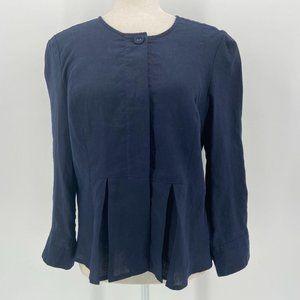 NWT Grace Elements Linen Blue Button Shirt 10